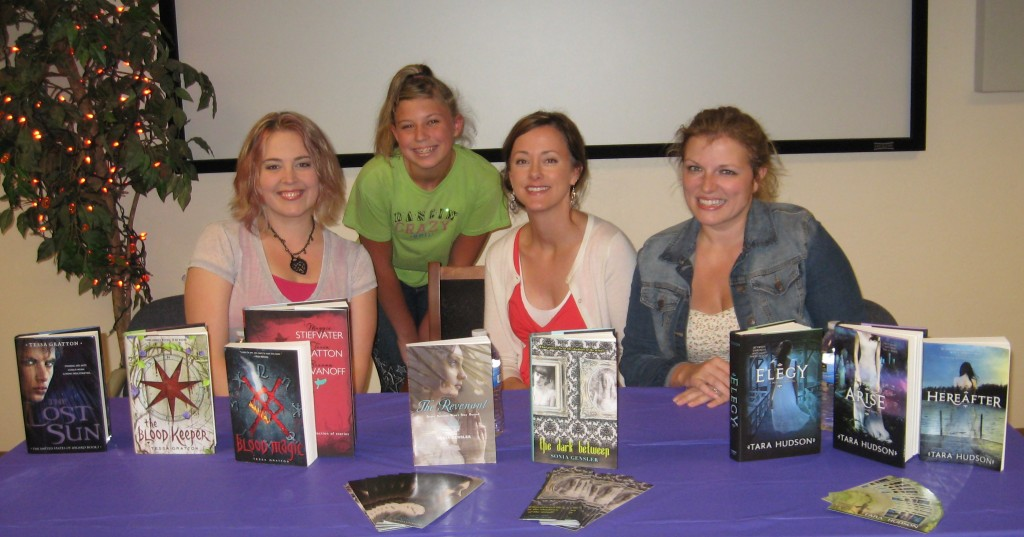 My darling daughter with authors Tessa Gratton, Sonia Gensler and Tara Hudson.